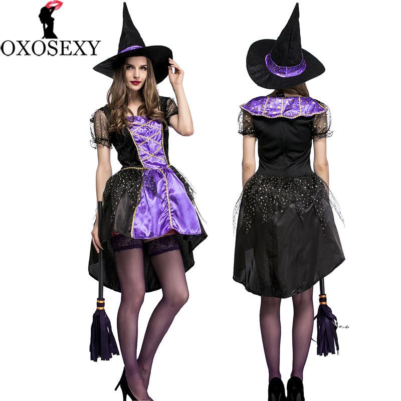 kualitas tinggi set hat + dress Halloween Hitam Ungu tuxedo Penyihir Kostum cosplay Kostum untuk Wanita Dewasa Gaun Panjang pesta 093