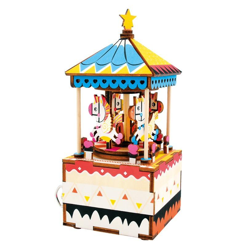 Price Comparisons Limited Time Free Gifts Robotime Diy Music Box Musical Box 1 Merry Go Round