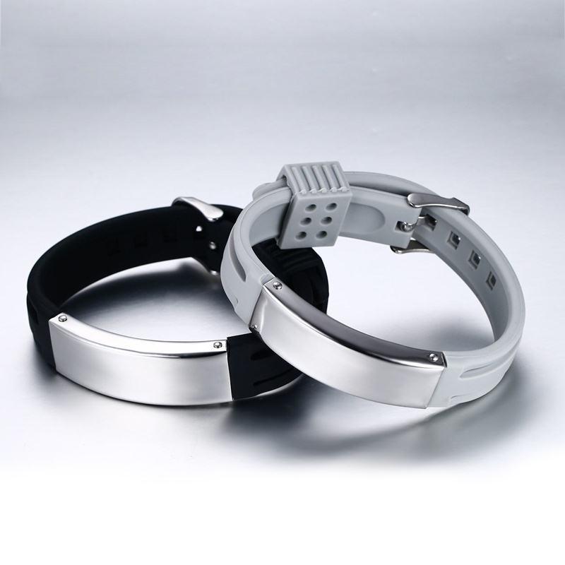 Detail Gambar Vnox DIY Engraving Words/Logo ID Bracelet Casual Black/Grey Color Silicone Bracelets for Women Men Sporty Jewelry - intl Terbaru