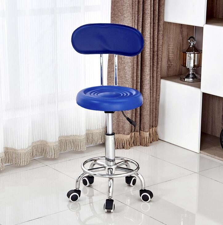 Leather Swivel Office Chair Bar Stools Height Adjustable (With Wheels)