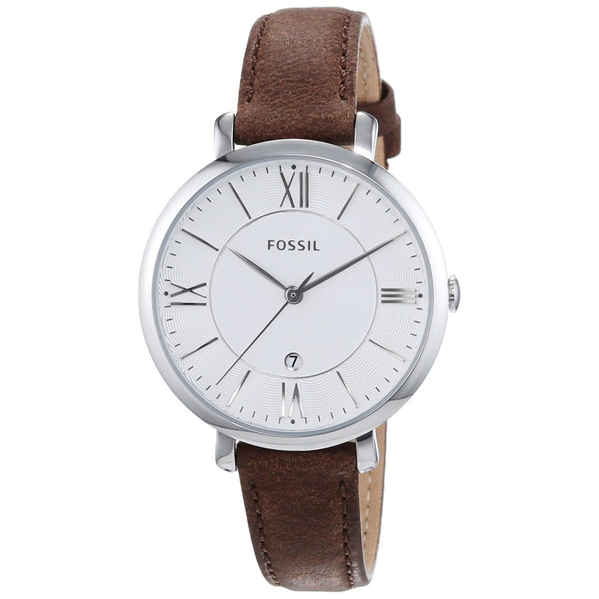 Who Sells The Cheapest Fossil Watch Jacqueline Brown Stainless Steel Case Leather Strap Ladies Es3708 Online