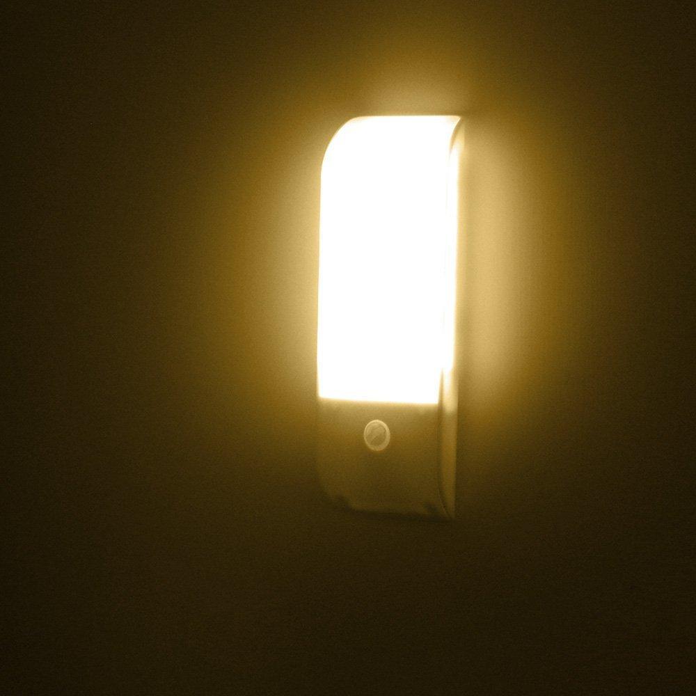 Licer Led Body Motion Sensor Night Light Toilet Bathroom Corridor Lamp 12 Leds Usb Rechargeable Indoor Sensor Lighting Warm White Light