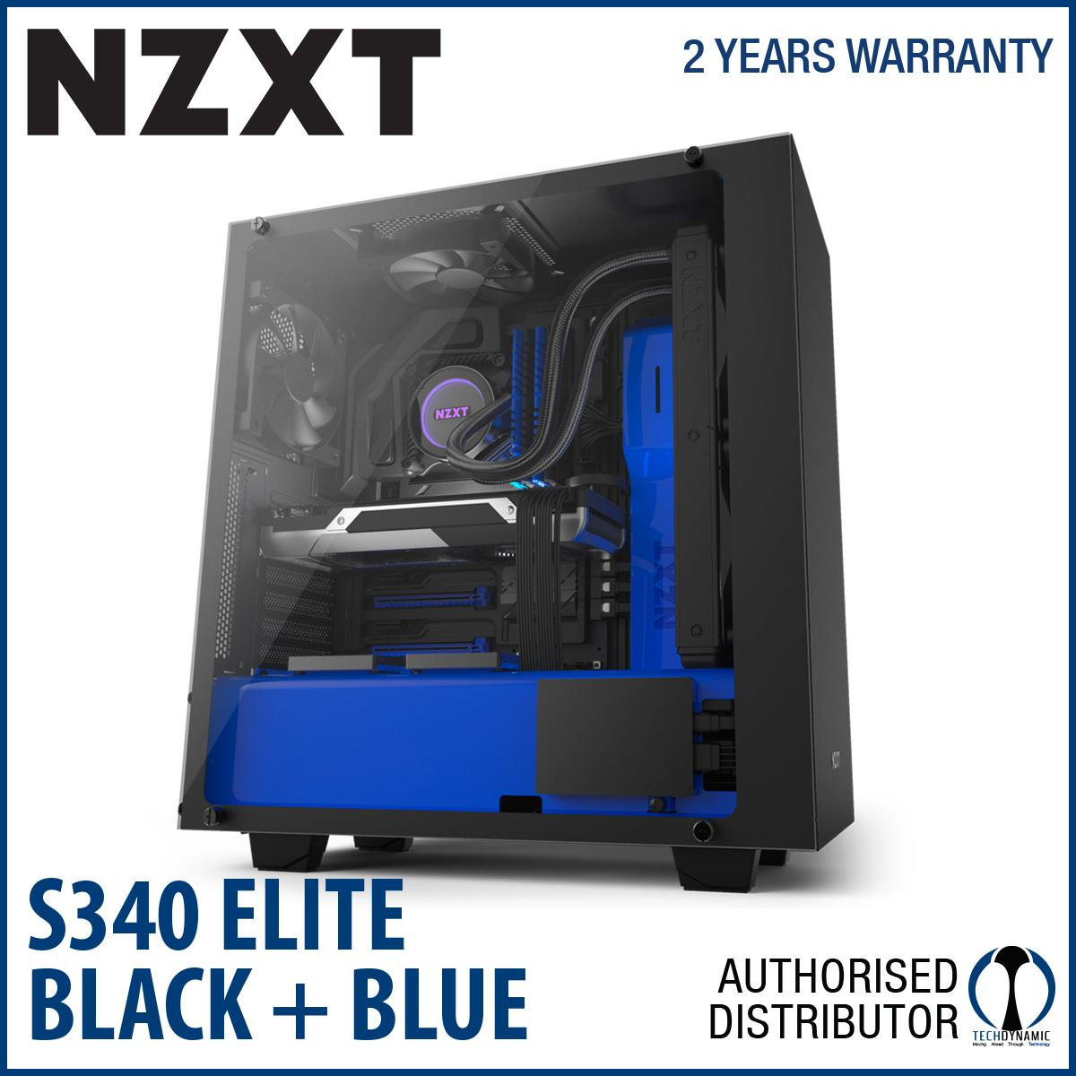 Sale Nzxt S340 Elite Matte Black And Blue Mid Tower Chassis