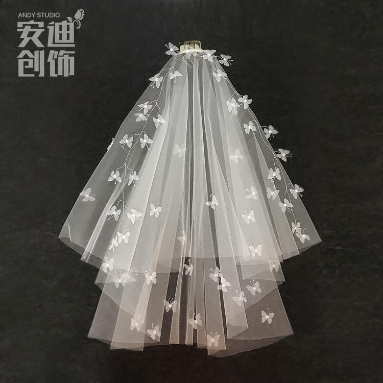 Model baru HUADO Butterfly karangan bunga garland lapisan ganda model pendek Model Korea pengantin wanita kerudung