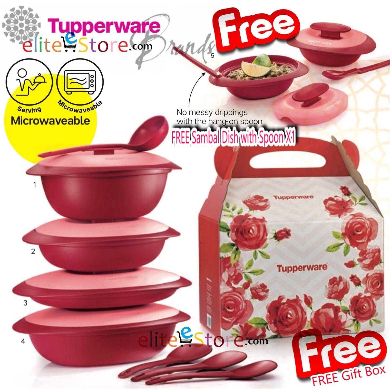 TUPPERWARE  Royal Red Serving 4in1 Set  FREE  Gift Box FREE Sambal Dish with Spoon