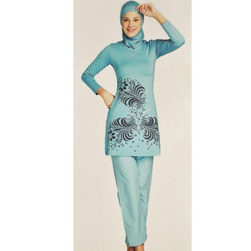 3ff28b8b38ca7 2018 new Women Printing Islamic Swimwear Muslim Swimsuit New Full Covered  Ladies Long Sleeve Modest Islamic