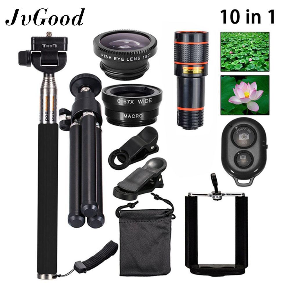 Jvgood Phone Camera Lens Set For Mobile Phone 10 In1 Travel Black Fisheye Wide Angle Macro 12X Telescope Telephoto Lens Mini Tripod Phone Holder Best Price