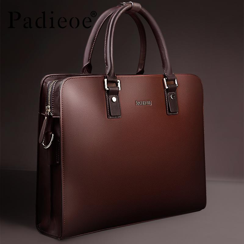 a631ff005ca Padieoe Split Cow Leather Briefcase Men Vintage Laptop Handbag Business  Mens Retro Leather Messenger High Quality Bag Casual Bag For Male - intl ...