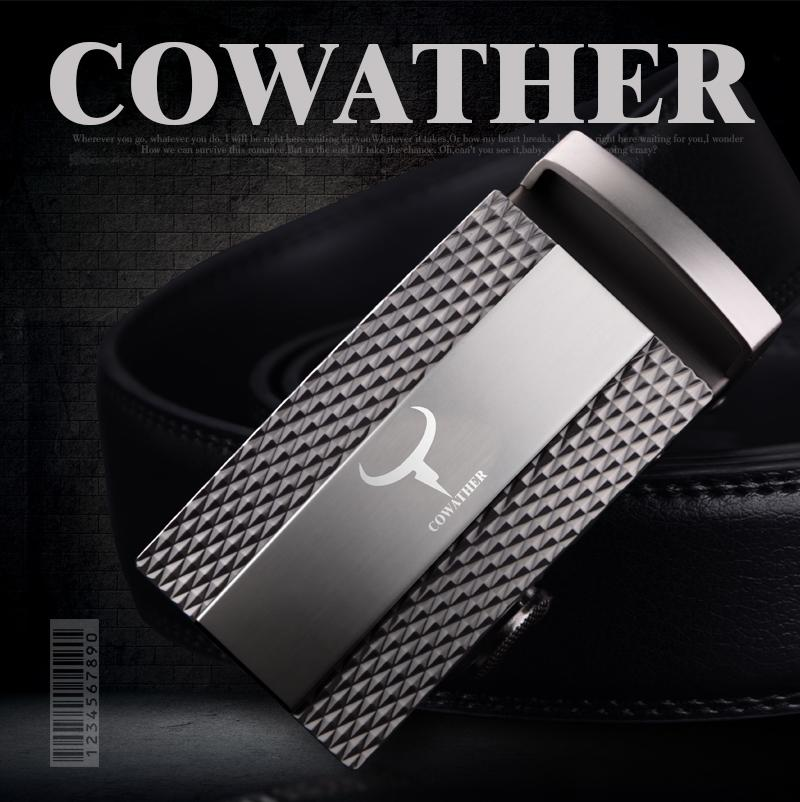 Get Cheap Cowather Men S Belt Slide Ratchet 100 Cow Leather Belts For Men Automatic Alloy Buckle Male Strap Casual Cowhide Waistband Belt Black S Xxl Intl