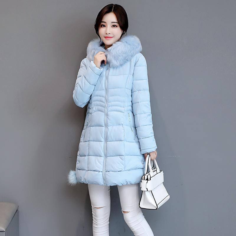 ea0cf9a6d Winter New Products Coat Cotton-padded Clothes women Mid-length Korean  Style Slim Fit Slimming down Cotton Take These Big Fur Collar Warm ...