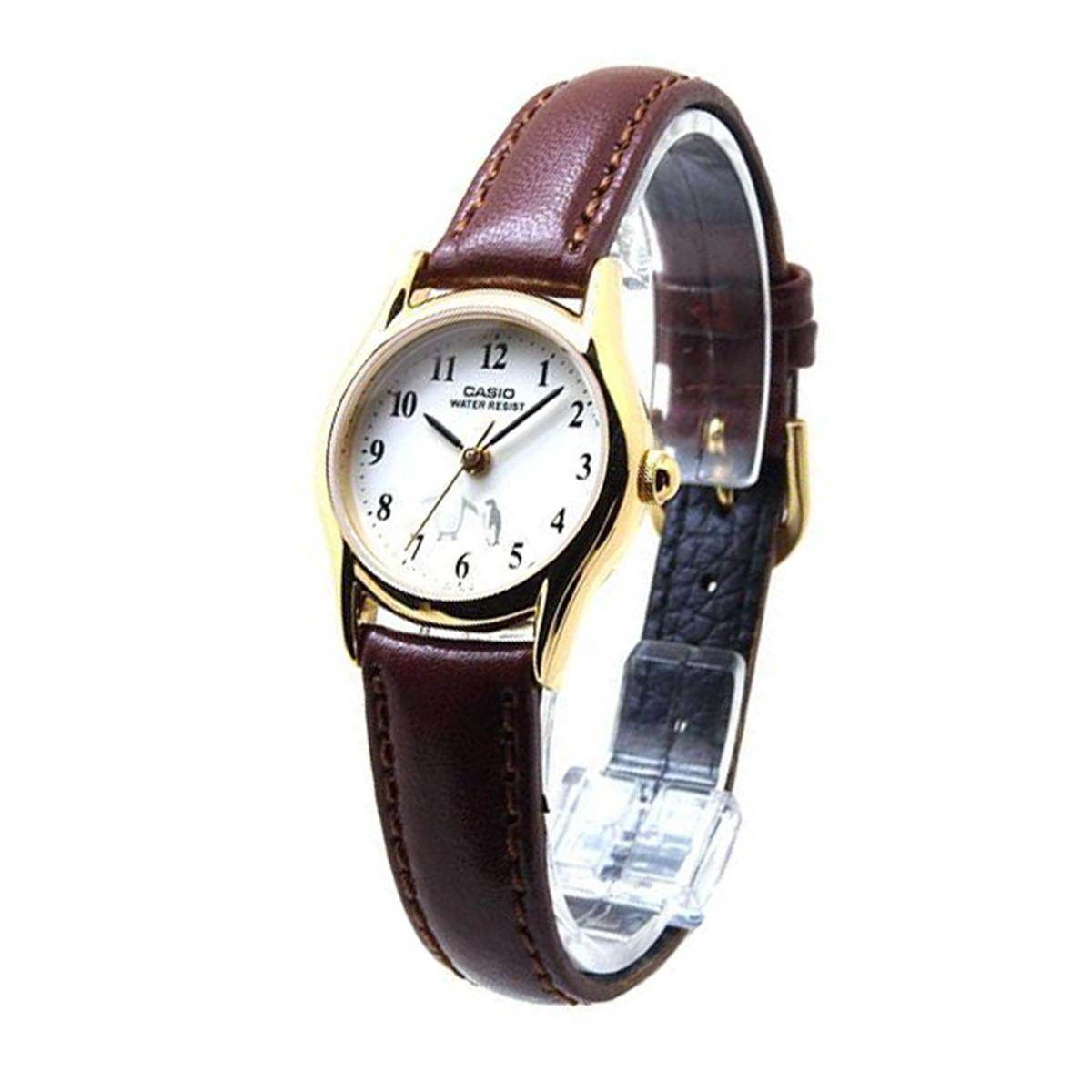 Casio Casio Penguin Brown Stainless Steel Case Leather Strap Ladies Ltp 1094Q 7B6 For Sale Online