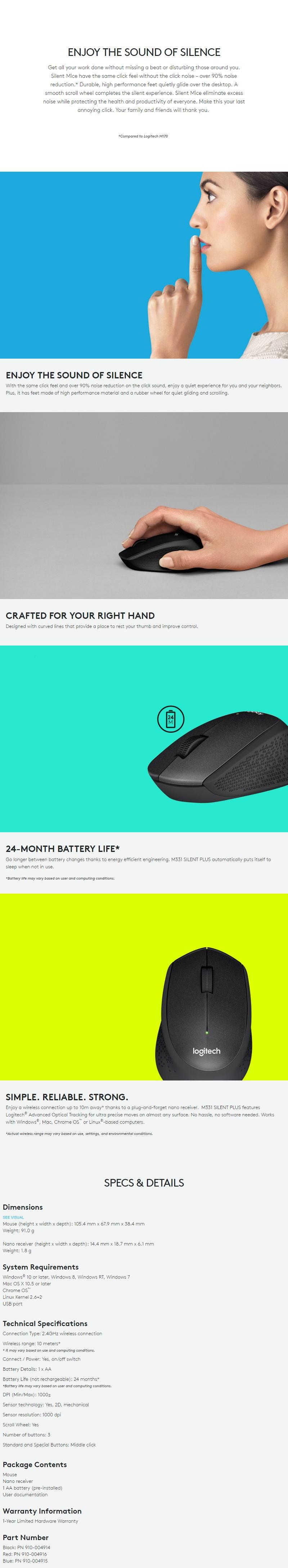 Logitech M331 Silent Plus Wireless Mouse Daftar Update Harga Garansi Resmi Original Specifications Of Black