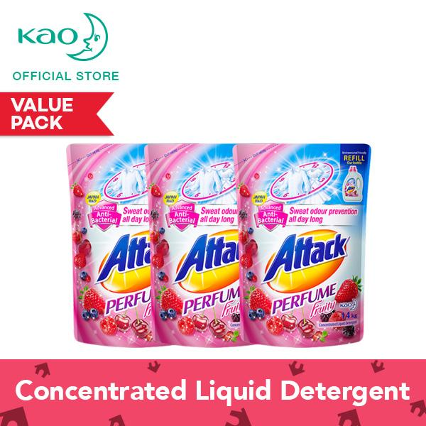 Great Deal Attack Perfume Fruity Liquid Laundry Detergent Refill 1 4Kg Set Of 3