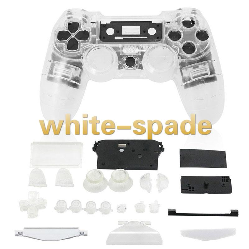 Full Housing Cover Button Key Kit Replacement For PS4 Wireless Controller Clear