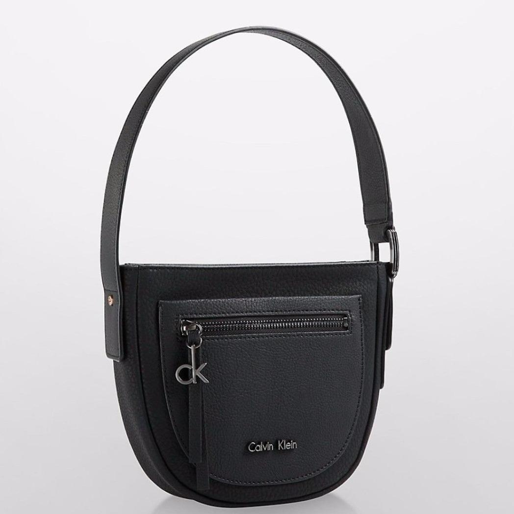 Calvin Klein Ck Women S Nadina Studio Sholder Handbag Bag In Black Faux Leather