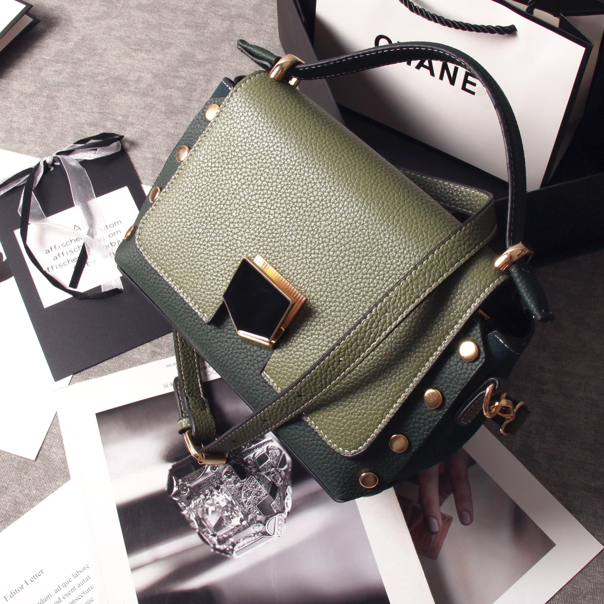 Small Square European and American female New style contrasting color shoulder bag bags