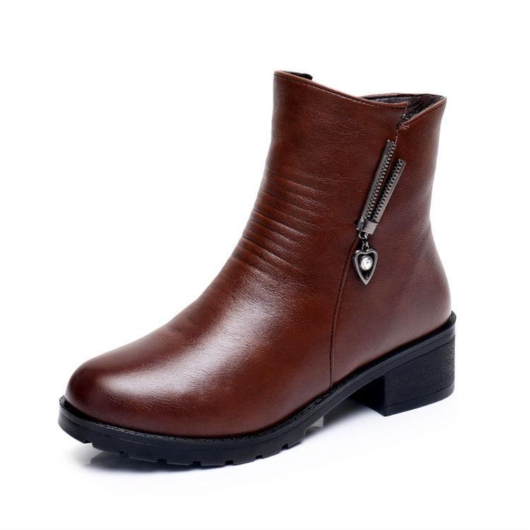 2018 musim gugur dan dingin Hak Tebal Boots Martin Tambah beludru Penghangat sepatu bot modis Gaya