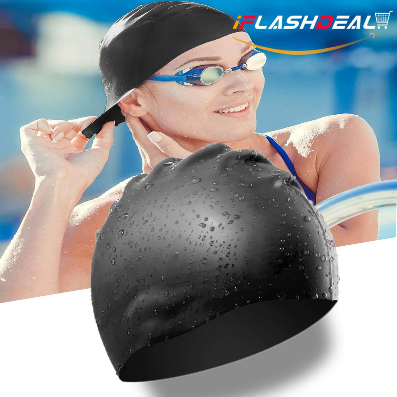 iFlashDeal Swim Caps Adult Silicone Swimming Cap Swim Hat Durable and High  Elastic for Men Women 1836bc274