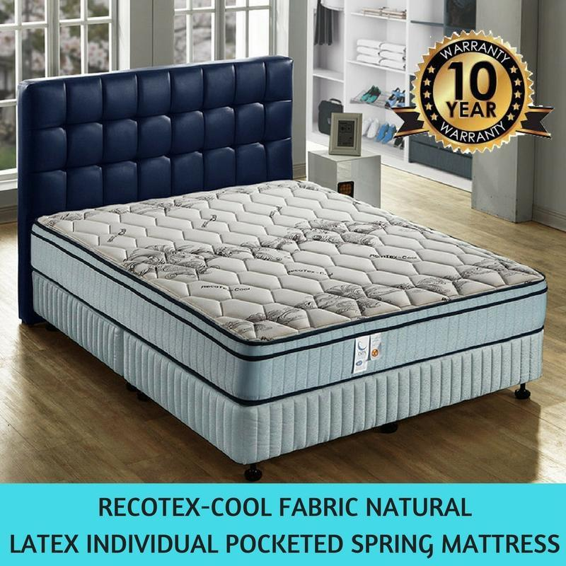 [Sleep Kingdom]9.5 Inch Recotex Cool Fabric Natural Latex Individual Pocketed Spring Mattress