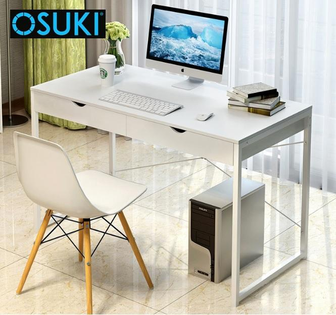 OSUKI Home Office Table 120 x 60cm With Double Drawer (White)