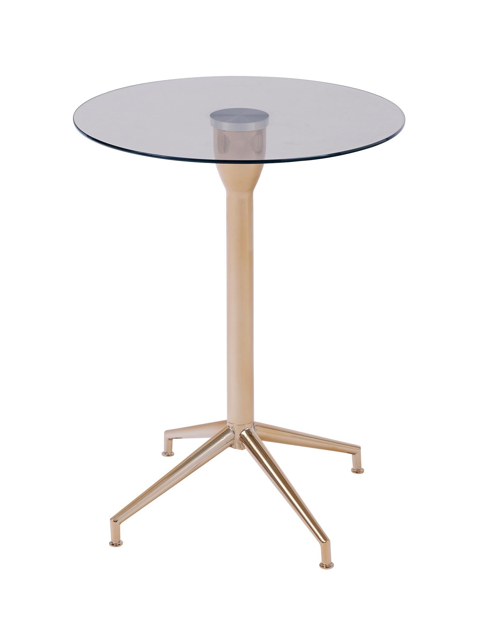 Salduba Rose Gold Tempered Glass Side Table