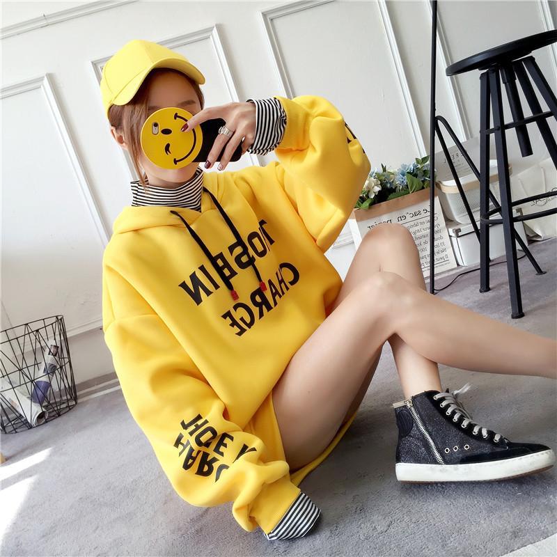 Kaos Sweater wanita musim dingin model baru hoodie Seolah-olah Dua Potongan  tambah beludru lebih 31eaf30e59