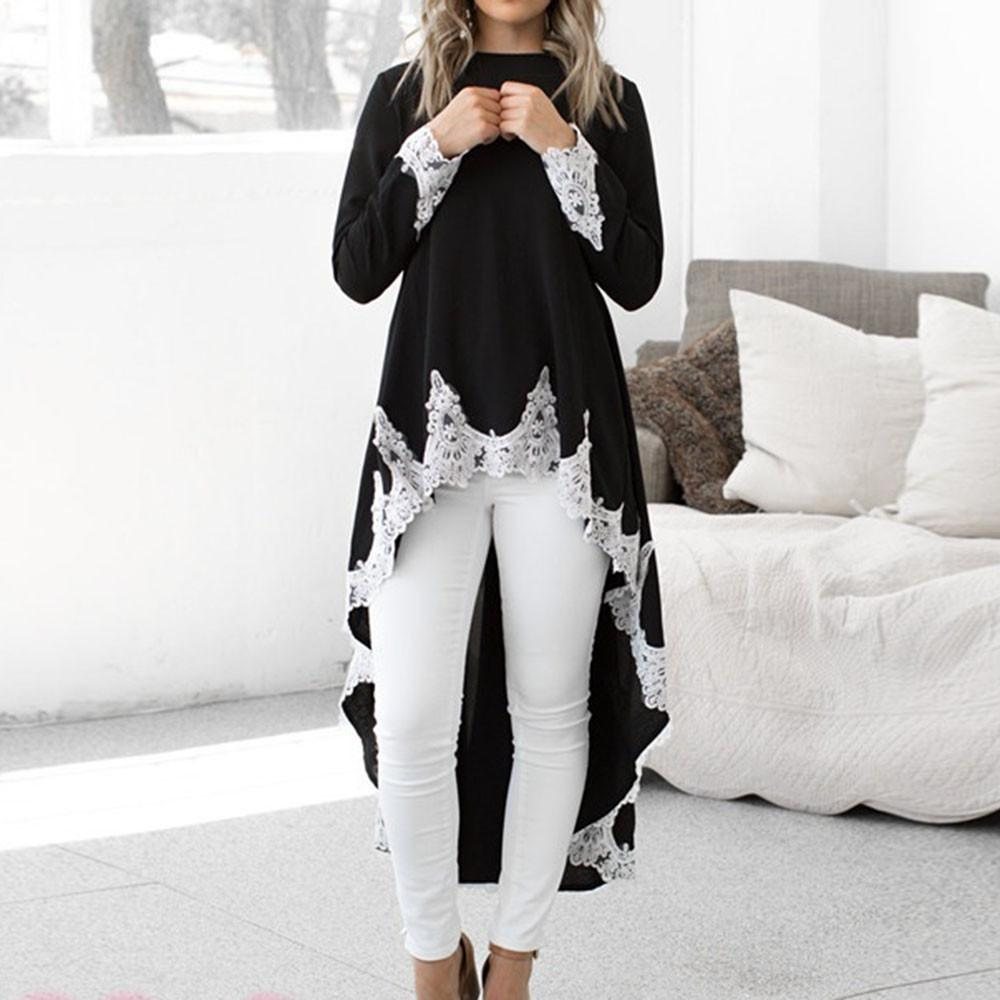 Lawsonshop Female S Long Sleeved Casual O Neck Pullover Irregular Hem Solid Color Lace Dress Free Shipping