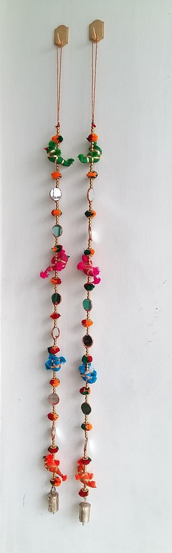 Door Hanging Toran Indian Decorative Cotton Birds in Vibrant Colors Stringed with Beads, Bell, Mirror.