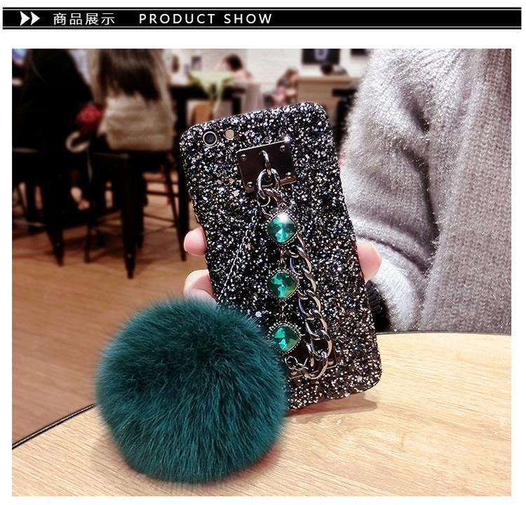 【Gelang hairball berkilau - hijau gelap】Apple 7r11y67x9s bola rambut gelang ponsel shell a59s Mito m8 pasang model perempuan