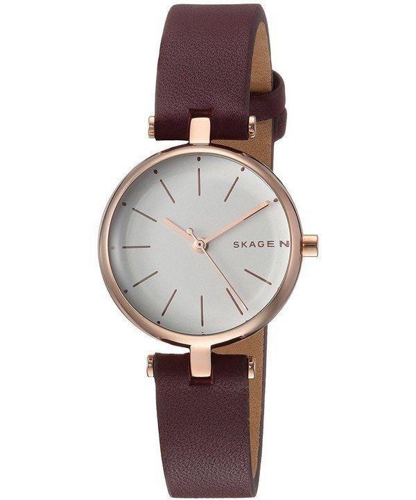 Review Skagen Signatur Analog Quartz Women S Brown Leather Strap Watch Skw2641 Skagen
