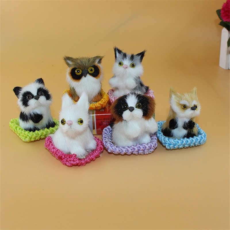 6 Pcs/lot Simulasi Kucing Musang Tupai Burung Hantu Anjing Kelinci Hewan Mainan Mewah Dekorasi