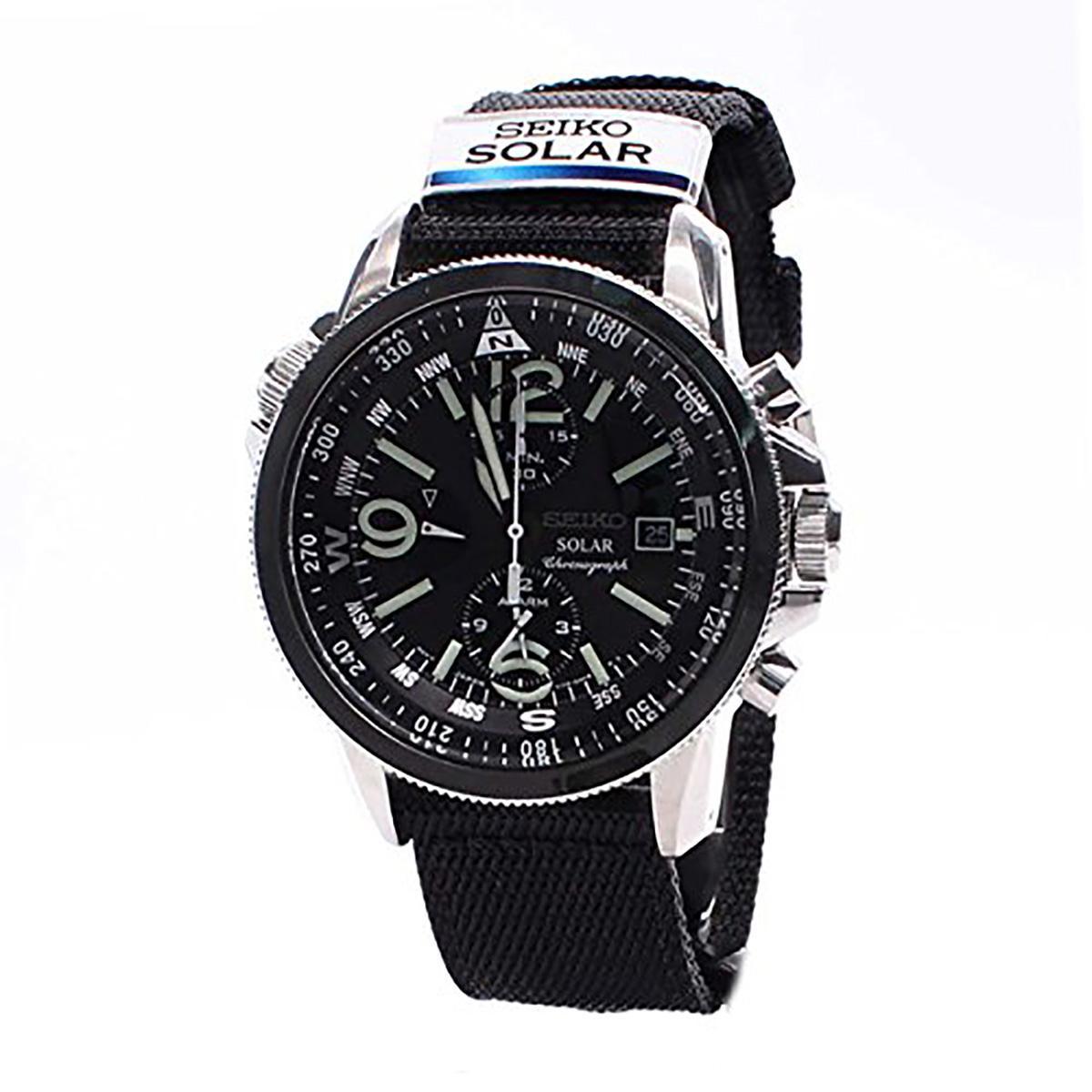 Price Seiko Watch Prospex Solar Chronograph Black Stainless Steel Case Nylon Strap Mens Ssc135P1 On Singapore