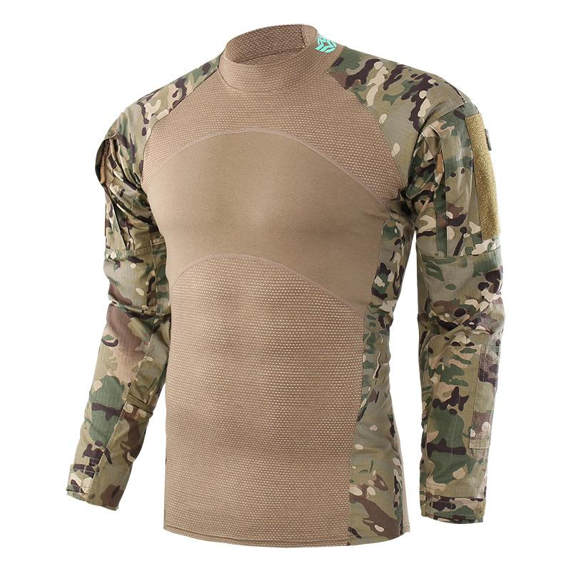 d052666bf9b ESDY frog clothing cotton camouflage military training uniform round neck  tight mesh long sleeve men s combat