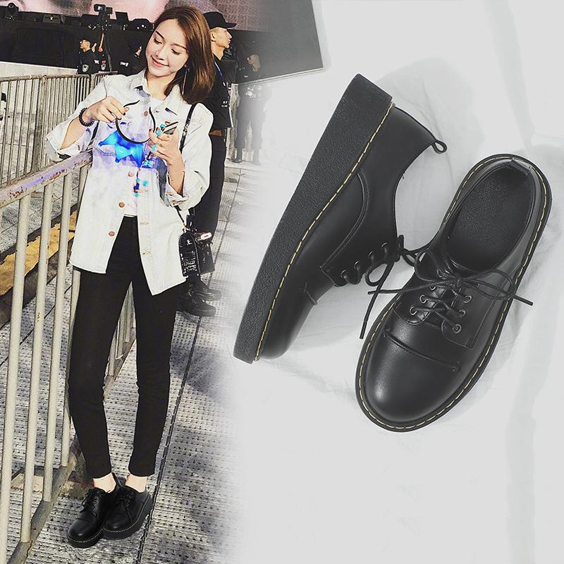 Buy Korean Style Spring Students Thick Bottomed Small Leather Shoes Cheap China