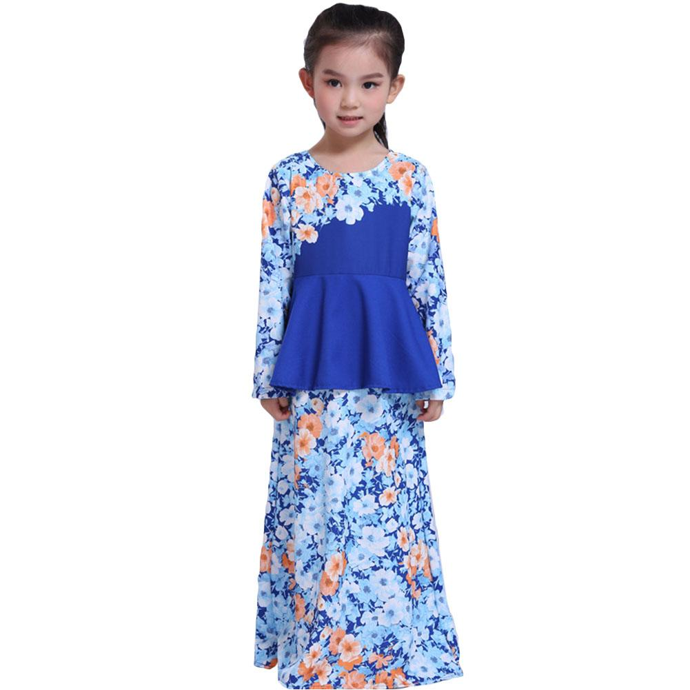 Cheap Baju Raya G*rl Long Muslim Lace Dress Baby Big Hem Long Sleeve Skirt