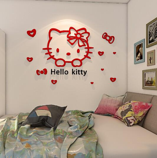 35f74d604 Hello Kitty Cartoon children's room children's bedroom wall stickers