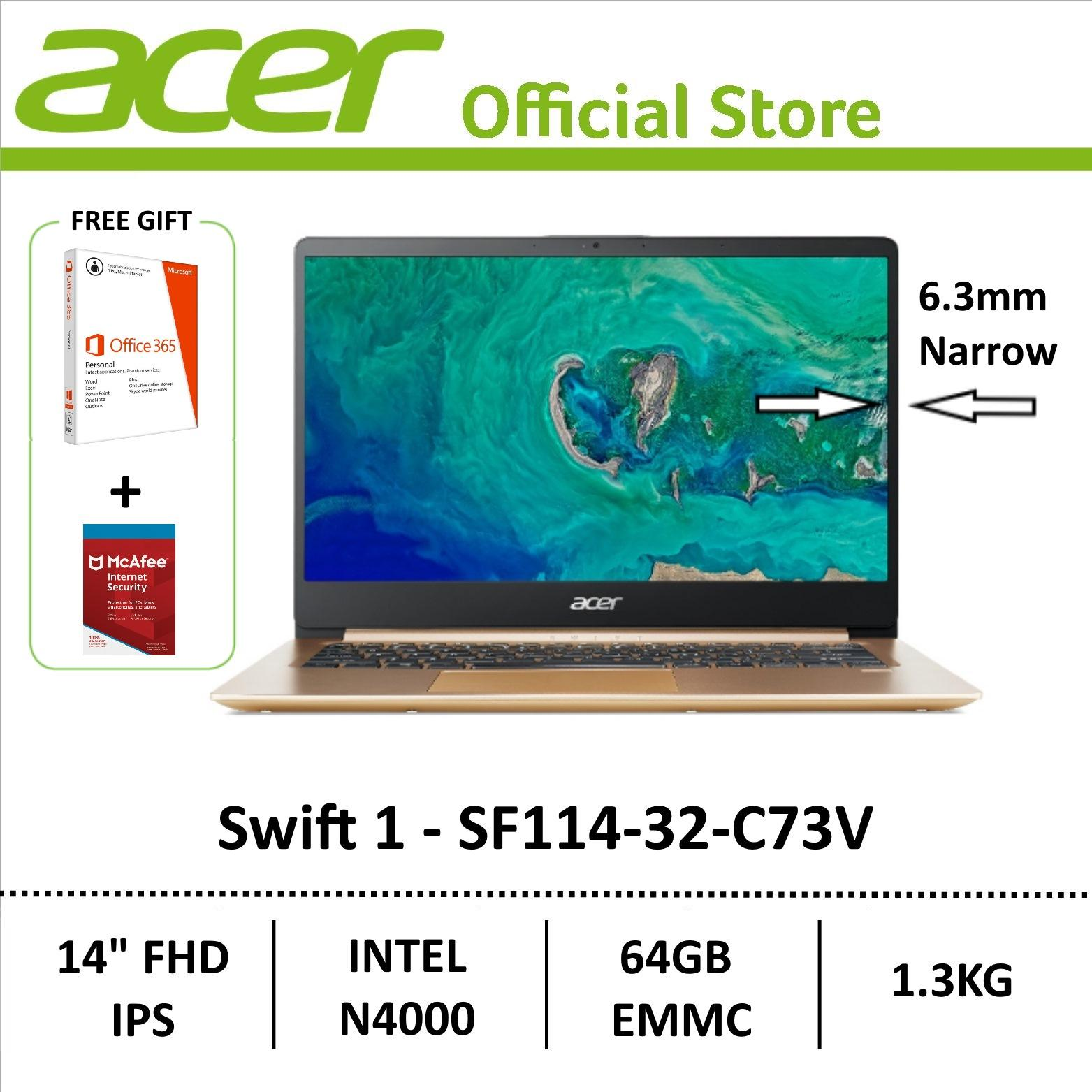 [Online Exclusive] Acer Swift 1 SF114-32-C73V Laptop (GOLD) - FREE MSO 365 PERSONAL