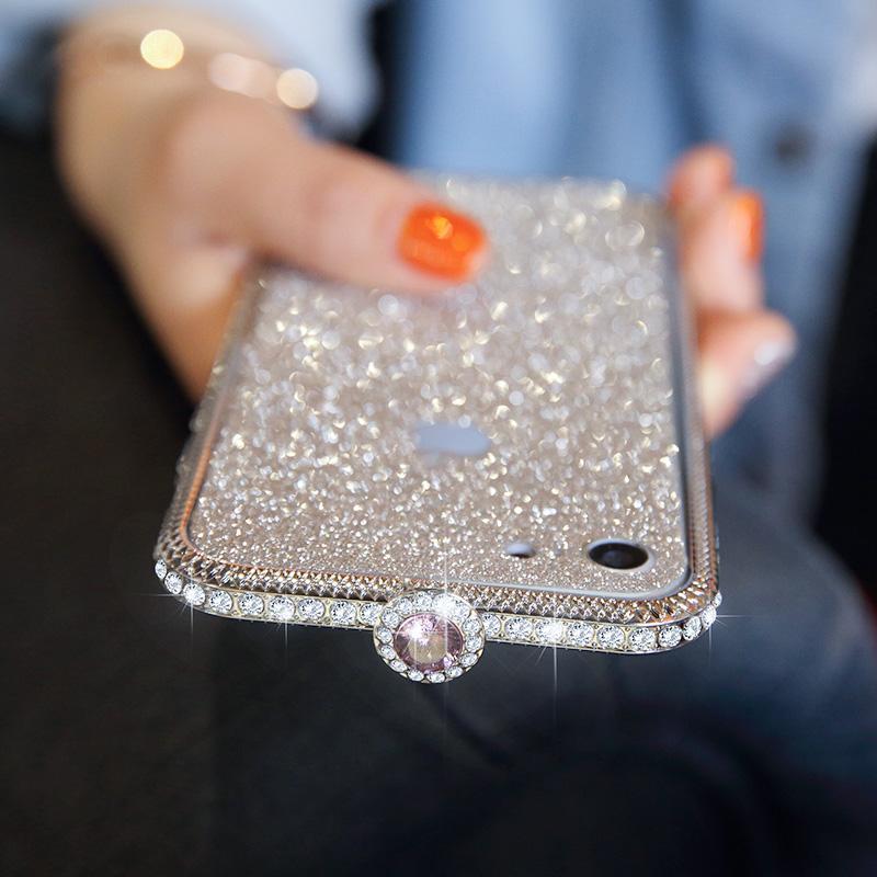 Apple ID 7 bertatah berlian Casing HP 7 plus Diamond Logam bingkai iphone8 berlian shell 6 s merah muda kelap Kelip berlian shell shell wanita
