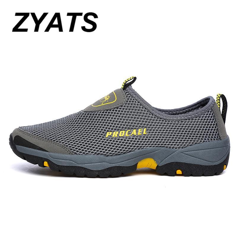 Detail Gambar ZYATS 2018 Baru Pria Sepatu Hiking Kasual Breath-Lighter Mode  Mesh Ukuran Besar 02fd08a05e