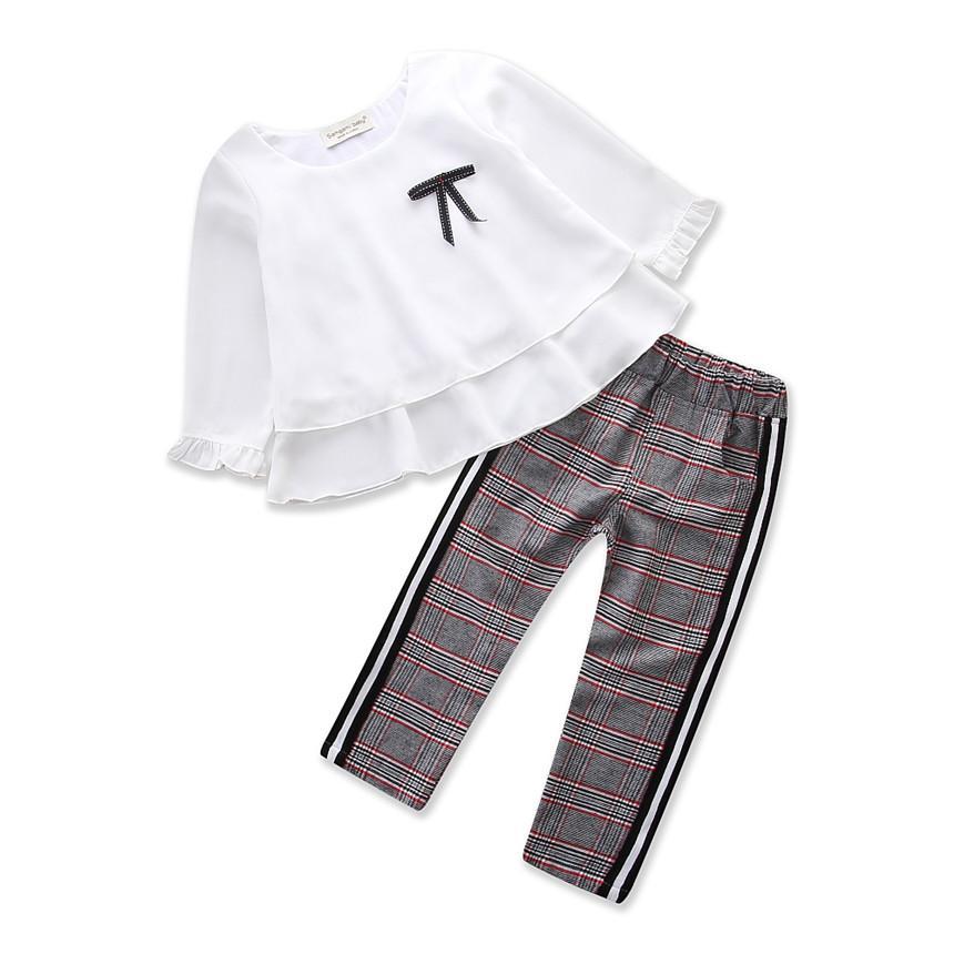 Sifon Lengan Panjang Tops + Grid Dicetak Celana Celana 2 Pcs Balita Pakaian Anak Perempuan Set