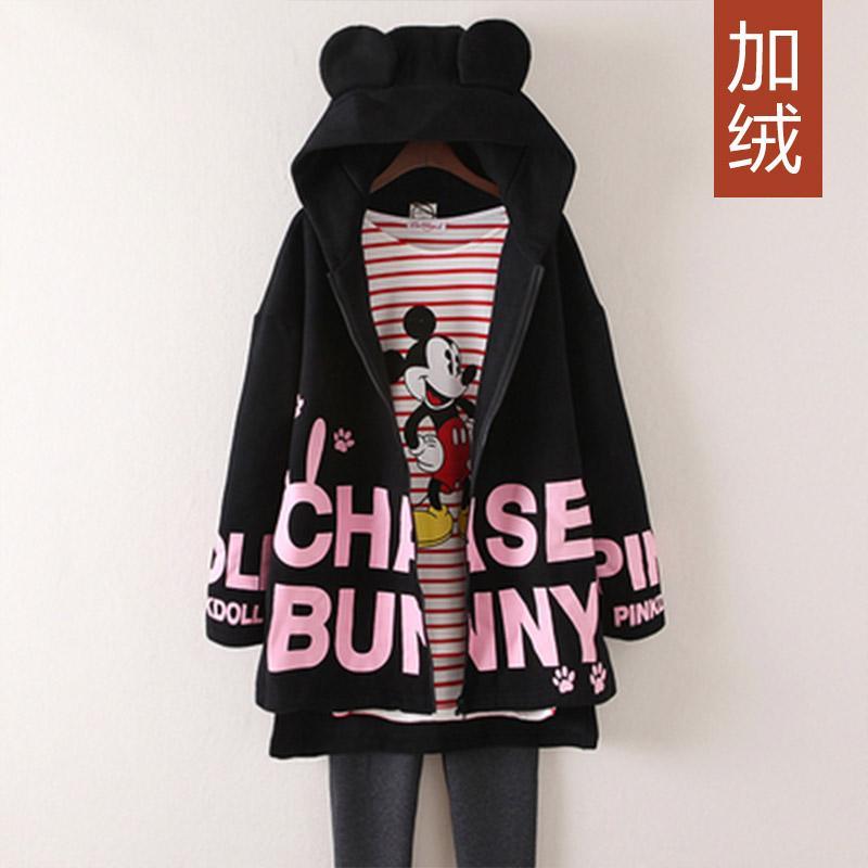 Dewi Kaos Sweater Kardigan Tambah Beludru Ukuran Besar Wanita Ukuran Plus  (2228-Hitam) 31fb1fd4b3