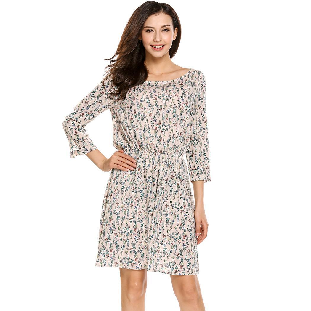 Sale Promotion Astar Women Bohemian Style 3 4 Sleeve Floral Print Summer Casual Dress Intl