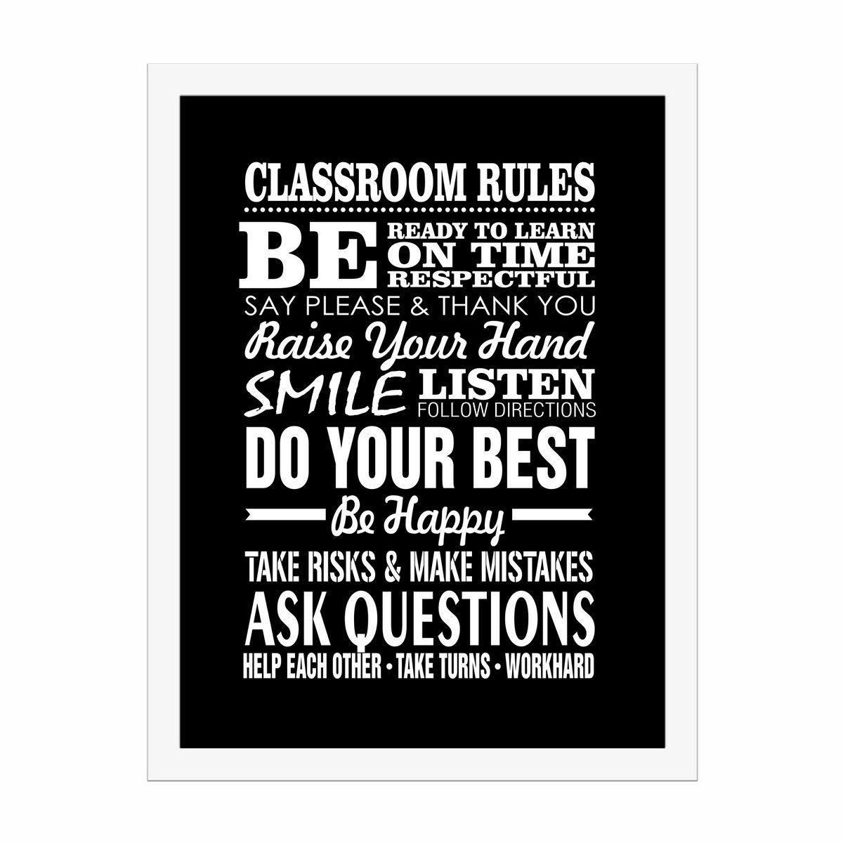 Classroom Rules - Black Wall Decor