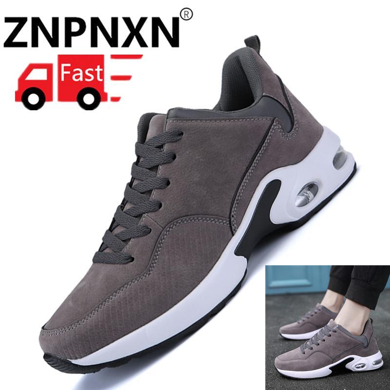 ZNPNXN Fashion Men Flat Shoes Spring Platform Casual Shoes Men Casual Sport Shoes (Grey)