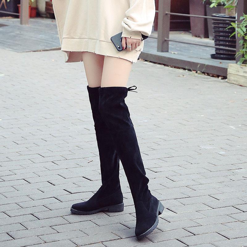 Lewat Lutut Sepatu Bot Panjang Wanita Musim Gugur Musim Dingin 2018 Model  Baru Netral Versi Korea 94141bb6e2