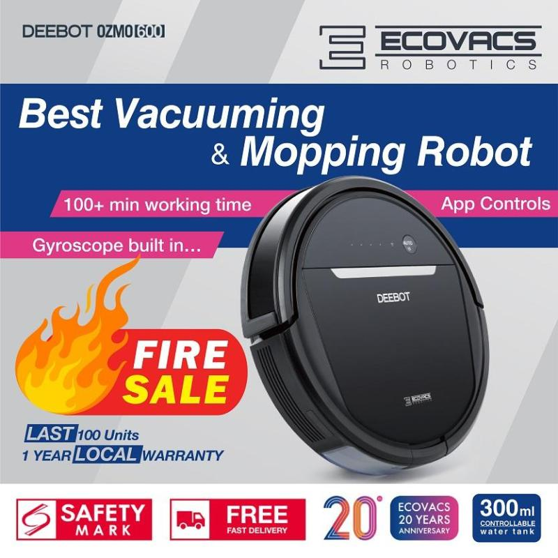 ECOVACS DEEBOT OZMO 600 Robot Vacuum Cleaner [with 300ml Water Tank] Singapore