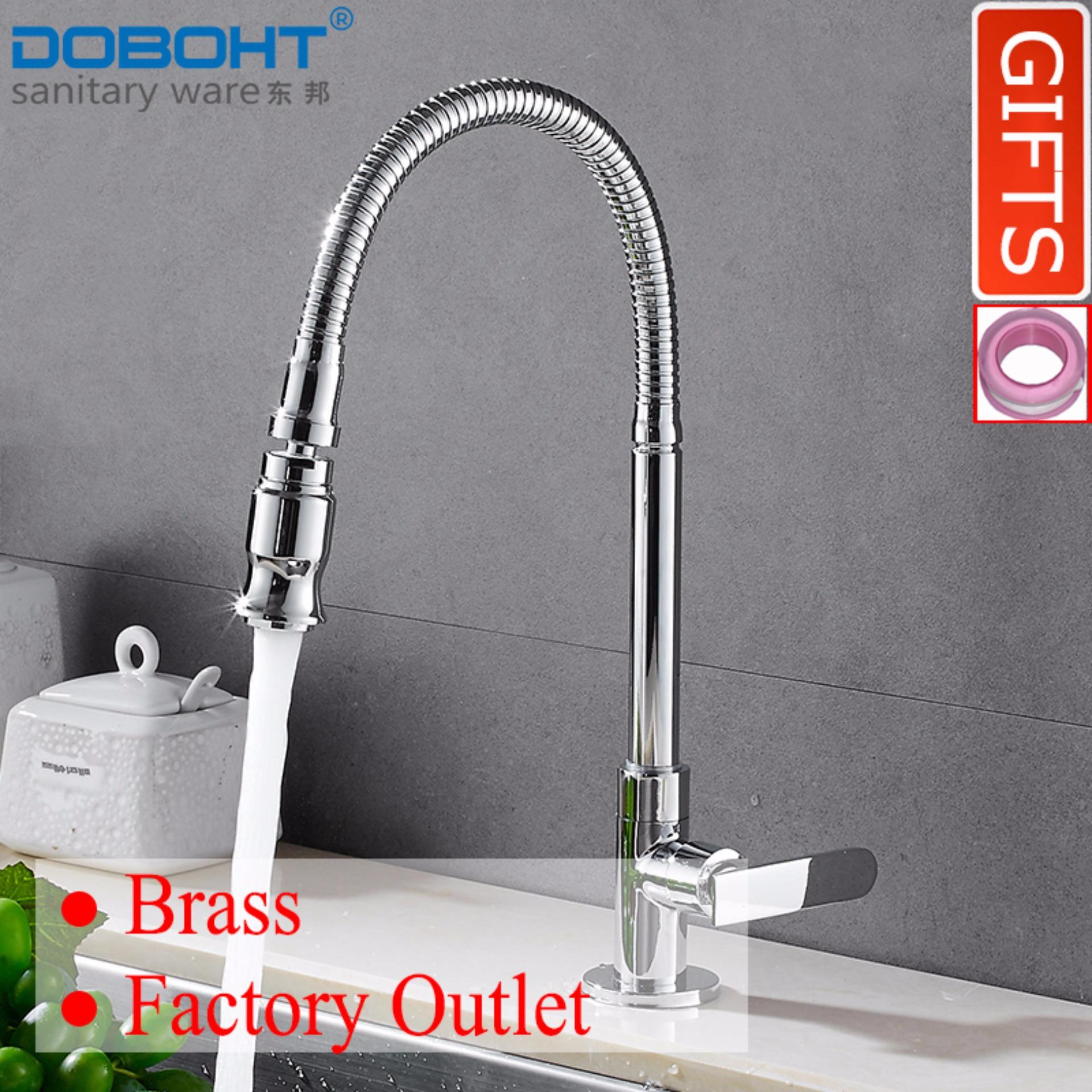 Top Rated Doboht Brass Bathroom Sink Basin Kitchen Single Cold Tap Faucet Chrome Intl