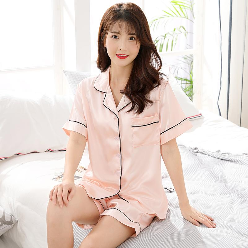 3e1b4e74a20 Pajamas women Summer Ice Silk Home Service Short Sleeve Cardigan Two-Piece  Set Summer Korean