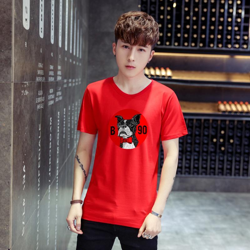 ... 2018 model baru Lengan Pendek Model pria kemeja tubuh musim panas katun murni Gaya Korea Tren