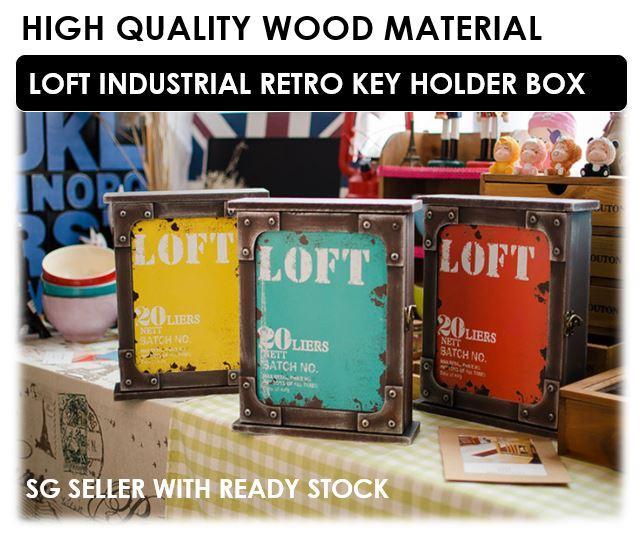 Loft Industrial Retro Rustic Key Holder Box / 3 Colours / 26cm x 22cm x 7cm